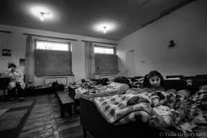 This kindergarten in Chinari village is located right in front of Azerbaijani military posts. For security reasons, the government has covered all the windows. Even at noon, the children's bedroom is dark.