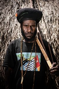 Portrait of OPM fighter, Danii Country Foothills, Papua
