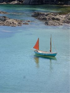 Blue Boat, Red Sail.