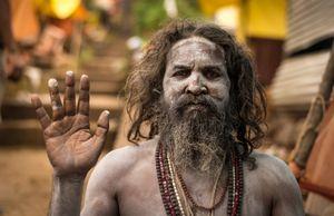 Naga Sahdu giving Darshan or Blessing