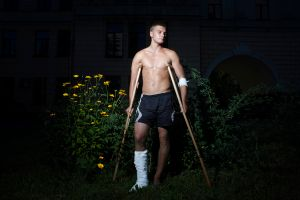 Boy with torn ligament from football
