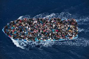 Operation Mare Nostrum – Boat refugees rescued by the Italian Navy, 7 June. General News Singles, 2nd place. Massimo Sestini, Italy.