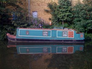 Turquoise And Red Narrowboat