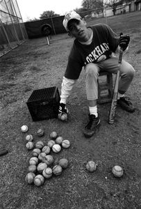 Joel Gould (15) at a high school baseball practice.   Ethnicity: Mexican • English ©2014, Stephen Shames