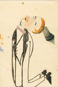Kneeling man with tower,  1920. Indian ink, ink, watercolor and collage on paper. Collection Henry Blumenfeld © The Estate of Erwin Blumenfeld