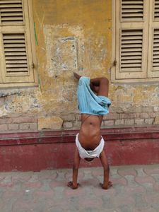 Boy on his Head, Lake Market, Kolkata