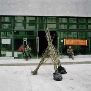 Tree Sellers from Northern China, in front of their Temporarily Rented Warehouse