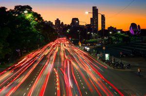 Traffic trails on Avenida Figueroa Alcorta