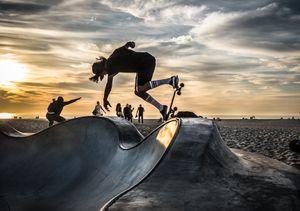 horizontal skater at sunset