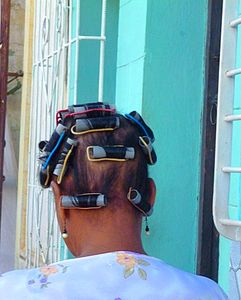 Women with hair curlers
