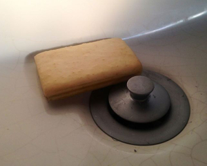 soap in bathroom sink (late afternoon light)