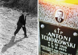 Antoni 1979 and his gravestone.