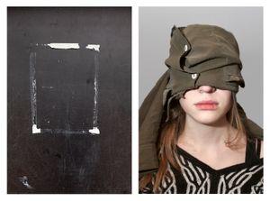 Blackboard & Girl with bandages eyes