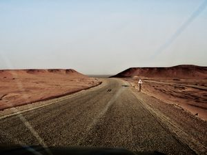 A road connecting the outpost of Tindouf to the Smara Refugee Camp, Algeria.