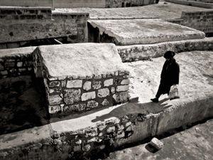 Orthodox Jew on a roof top Jerusalem, Israel