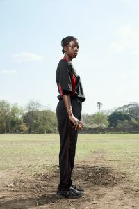 Chimwemwe, bowler, Malawian Under 19 Women's Cricket Team, Blantyre, Malawi, 2016.