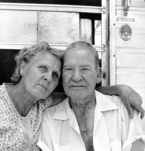 """Test Site Worker Walter Adkins and his wife, Marvel, after he told me of his lethal exposure to a """"safe"""" underground nuclear test gone awry, Shot Baneberry in 1971.  Henderson, Nevada, 1984"""