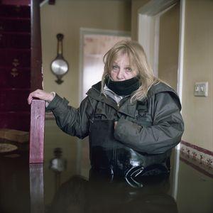 © Gideon Mendel, Shirley Armitage, February 2014, Moorland Village, Somerset, United Kingdom. Series: Drowning World