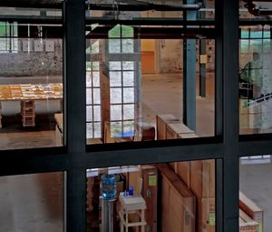 Central hall of the Timmerfabriek. Packages containing works of art have just arrived standing ready to become part of the exhibition Out of storage (2011).