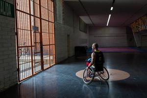Oscar Rios, 42, is leaving the Envigado Gymnasium after a fitness practice, Medellin, March 2016.