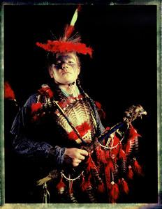 #2, German powwow dancer, Portrait taken at the local powwow convention, bleach Fuji Fp100c, negative scan, Kladno, Czech Rep. 2015