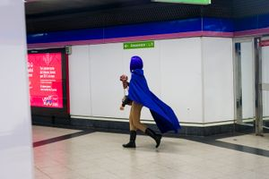 Masked heroe at the subway. Madrid 2016
