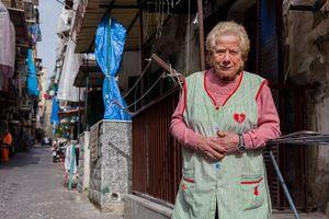 Naples. Santa neighbourhood street portrait