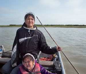 Mary and daughter Tricia Kokrine seal hunting