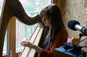 Ingrid Henderson from Glenfinnan plays the clarsach