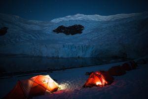 Sleeping under the glacier temple
