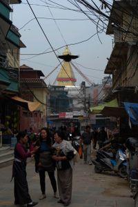 Boudhanath Stupa towers over its surrounding