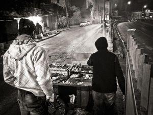 Night time roadside kebab sellers, Jerusalem, Israel