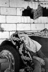 Girl and Rocket Hole, Aita El Chaab Lebanon 2006