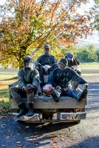 Baltimore, Kenroy, Hernal, and Rodger ride in the back of a pickup truck to the orchard fields