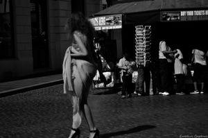 Model walking in the street