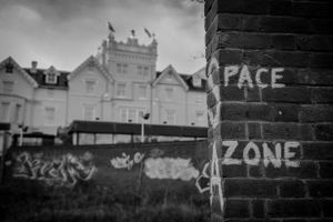 Graffiti on the walls of the sanctuary.