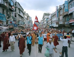 Street rally to protest government's decision to remove Buddha's statue from Kakre Bihar in western Nepal, 2013