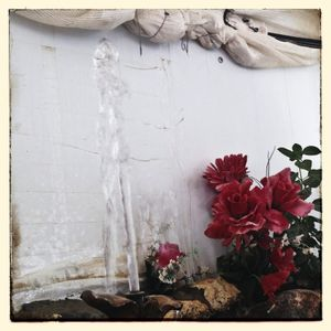 A water feature with flowers Za'atari refugee camp