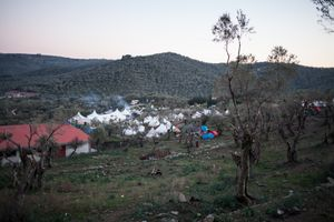 """Olive grove camp next to """"afghan hill"""" detention center on Lesbos"""
