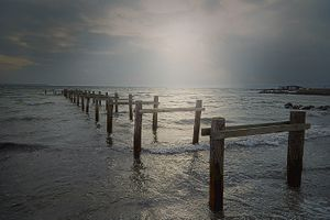 Pillars in the sea