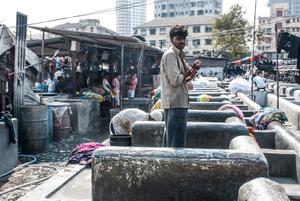 Dhobis, open-air laundromat in Mumbai