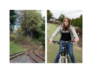 """Rails & Girl on Bicycle"""