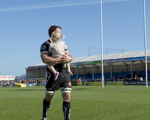 Kai Horstmann .Exeter Chiefs player and daughter. Final match of season. Sandy Park Stadium.