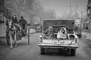 Taking a taxi in a small afghan town.