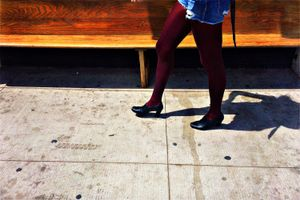 burgundy tights