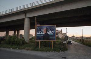 A billboard promoting the new album of Tony Colombo's new record in Afragola.