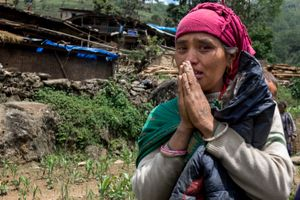 during the  7.3 magnitude earthquake at Gumba village, Sindhupalchok district.