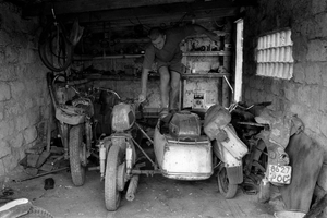 In the garage for motorcycles