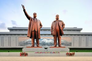 The statues of Kim Il Sung and Kim Jong Il.