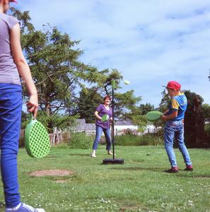 Palina Shyltsava, Gill and Yahor play Swingball